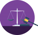 illustrative icon of scales and a gavel