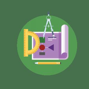 illustrative icon of compass, pencil, protractor and paper