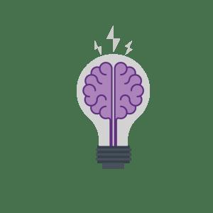 illustrative icon of a brain in a light bulb