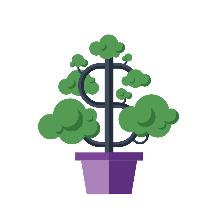 icon of a tree with a dollar sign as the trunk