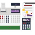 finances icon including calculator, register, and contract