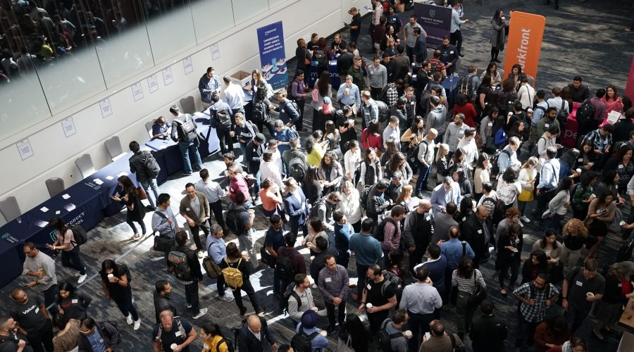 Group of people shopping at a trade show