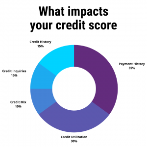Chart of the 5 fives that impact your credit score