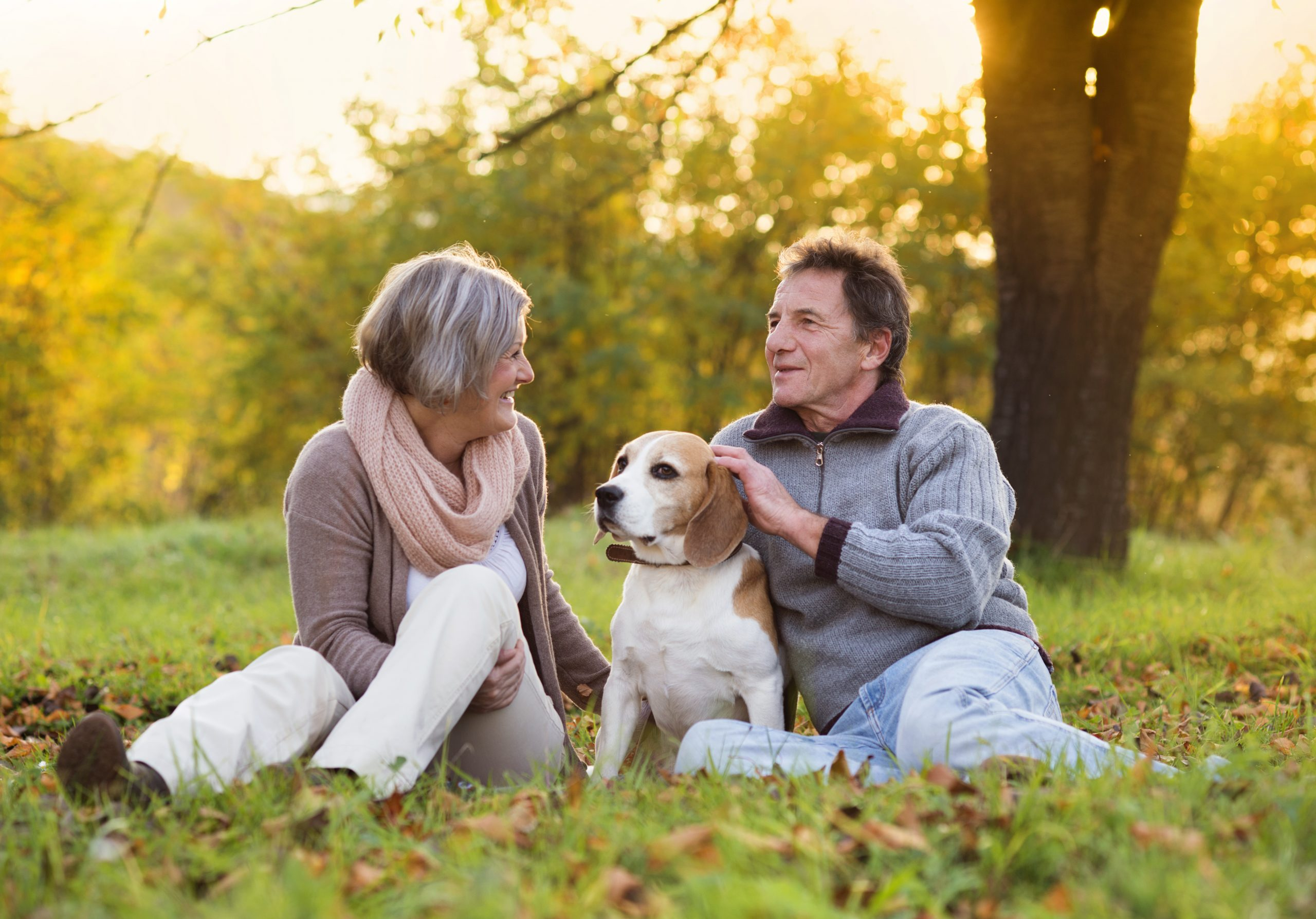 Seniors in retirement with dog